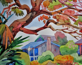Original Watercolor Painting ,House,  Original Watercolor,landscape 9x12 inches,