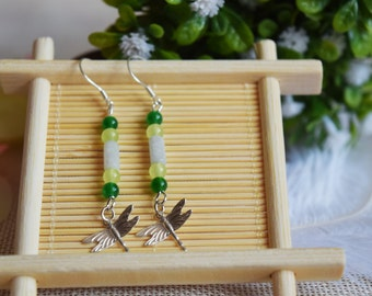 brass dragonfly earrings, Chinese jade earrings