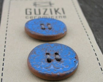 Ceramic Buttons, Pottery Buttons, Handmade Buttons, Blue glaze Buttons