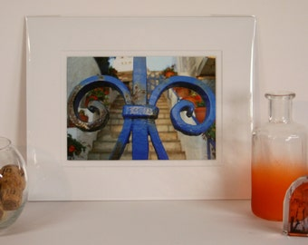 Matted Color Photograph - Blue Gate, Greece