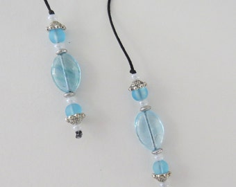 String Beaded Bookmarker in pastel blue with silver accent