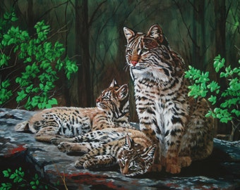 "Bobcat painting Bobcat kittens Original painting Acrylic painting One of a kind 16"" x 20"" Gift for him or her Title: Bobcat resting place"
