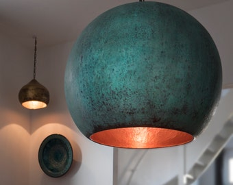 Hand beaten oxidized copper lamp by TISJA
