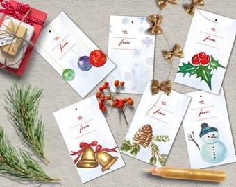 Christmas Tags, Printable Christmas Tags, Instant Download Christmas Gift Tags, Christmas Favor Tags Printable.