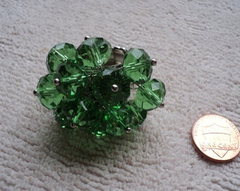 Bright Emerald Cluster Ring