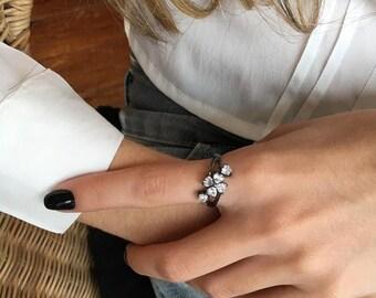 Black Ring, Delicate Ring, Simple Ring, Diamond Simple Ring, Black Gold Ring