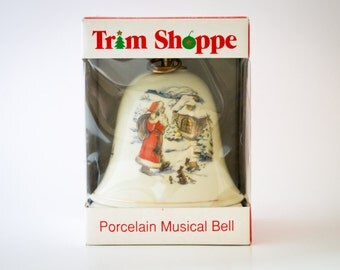 Trim Shoppe Porcelain Musical Bell - 1994 VINTAGE music box Playing White Christmas - Made in Germany by KonitZ