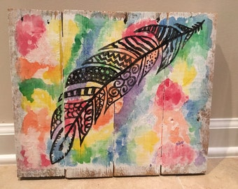 Pallet Wood Sign- Rainbow Feather