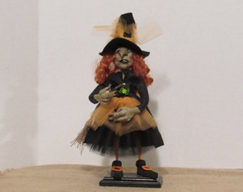 "REDUCED, OOAK Art Doll, Polymer Clay Handmade Doll, 15"" Halloween Witch Sculpture, ""Wilhelmine"" By Susan Massey  **Free shipping"