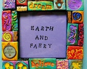 Picture frame, polymer clay mosaic art, wall decor