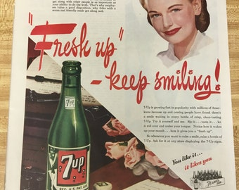 Seven Up (7up) Vintage Single Page Ad 1945