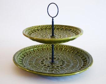 Retro Ceramic Green Cake Stand