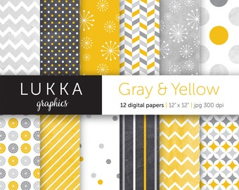Grey and Yellow Digital Paper; Printable; Digital pattern; instant download