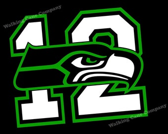 Seattle Seahawks 12th Man Vinyl Decal Sticker - Free GO HAWKS! Sticker in Matching Green Color