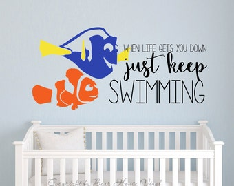 Beautiful Just Keep Swimming Finding Nemo Dory Quote Vinyl Wall Decal Wall Quote Wall  Words Part 26