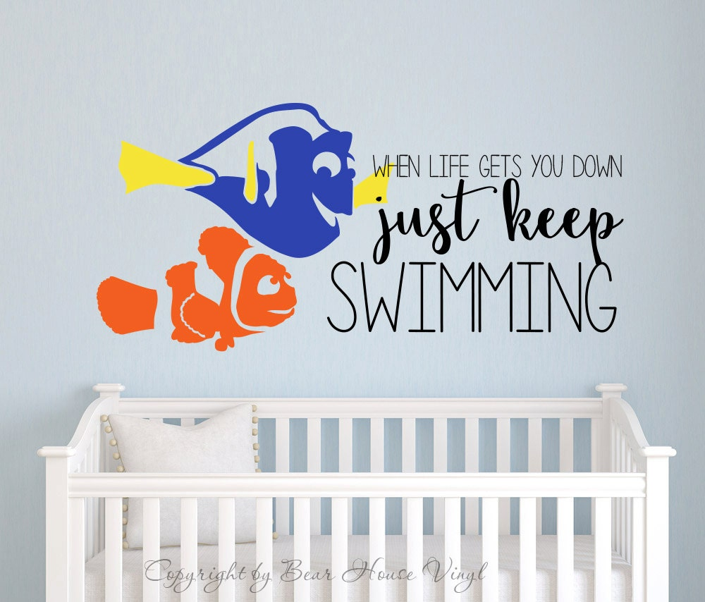 Just keep swimming finding nemo dory quote vinyl wall decal for Finding dory wall decals