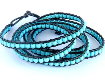 Leather Bracelet Turquoise, Chanluu,  Five Wrap Bracelet, chan-luu, chan luu, leather, beaded- Fashion of 2016 , turquoise