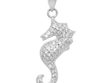 Sterling Silver CZ seahorse pendant
