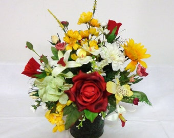 Deep Red Rose Yellow Silk Flower Arrangement-Table Top Centerpiece-Table  Home Decor
