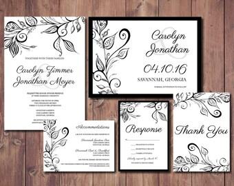 Black and White Wedding Invite, Hand Drawn Invite, Hand Drawn Wedding Invitation, Black and White Invitation, Black and White Save the Date