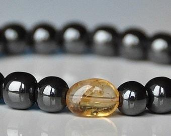 Mens Gemstone Citrine Hematite Bracelet,Stability Abundance Grounding Mala Bracelet,Energy Bracelet,Men Wrist Mala,Japa Mala meditation,