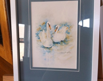Swans 'Partners For Life' print mounted and framed