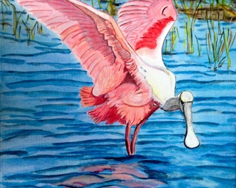 "Spoonbill, Acrylic Painting by CYP, Original on canvas 16"" x 20"""