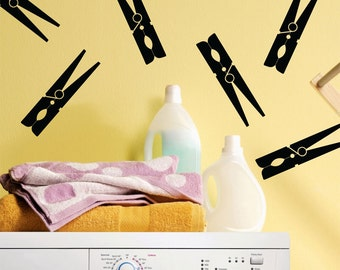 Clothes Pegs Vinyl Wall Decals / Stickers for Laundry Room or Kitchen (set of 8)