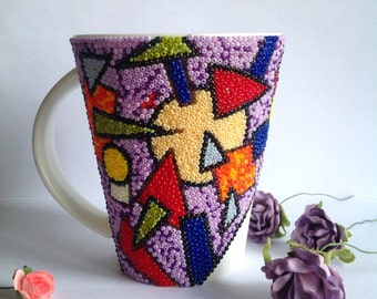 Beaded mosaic Mosaic mug Mug geometry Practical mosaic Mosaic bead Author mug Fantastic mosaic
