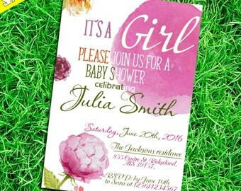 Watercolor Baby Shower Invitation, Floral Baby Shower Invite, Printable Baby Shower Invite
