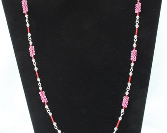 A Coiled Necklace with Matching Earrings, made with Coiled and Twisted Wire, Pink and Red Wire work, Trefoil Wire Earrings