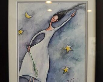 "Night Dreaming I, 12x9"" Original Watercolor Framed"