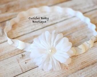 White Ballerina Fold Over Elastic Headband, Fabric Headband, Baby Headband