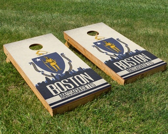 Boston State Flag Skyline Cornhole Board Set
