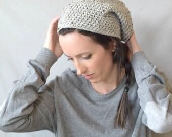 Easy Crochet Slouch Hat Pattern, Slouchy Hat Pattern, One Skein Hat Pattern, Grey Hat Pattern, Worsted Weight Yarn Hat, Beginner Hat Pattern