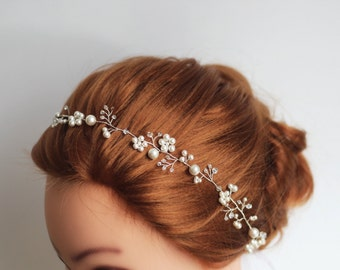 Wedding headband, Pearl Bridal headband, Pearl headband, Bridal headband, Bridal halo, Pearl hair vine, Bridal hair accessories