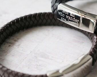 Personalised Leather Bracelet - FREE Custom Engraving