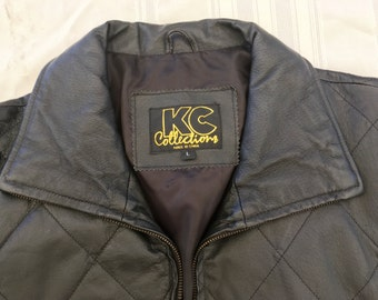KC Collections Womans Black Leather Jacket