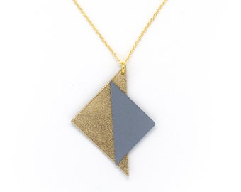 """Handmade necklace leather triangles """"Art deco"""" gold and blue-grey"""