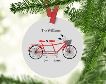 Custom Family Ornament - Tandem Bike Ornament - Custom Ornament - Personalized Ornament