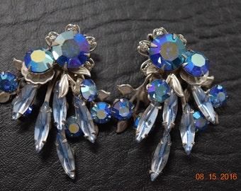 Large Vintage Blue Rhinestone Earrings