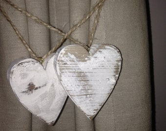 Curtain Tie Backs Wooden Hearts White Shabby Chic
