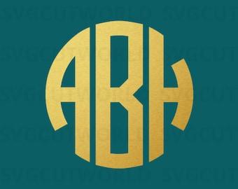 Three Letters Monogram, Monogram Alphabet SVG, Svg, use with Cricut & Silhouette