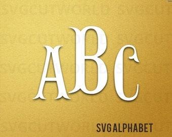 Fish Hook Monogram Svg , Monogram Alphabet SVG, Svg, use with Cricut & Silhouette