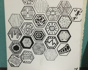 Abstract Hexagon Drawing