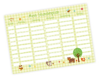 A4 timetable forest animals - classroom Schuleitritt printed on both sides nikima * gift *.