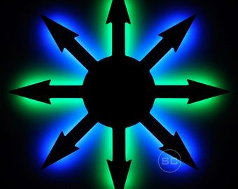 Lighted Chaos Symbol Sign - LED Chaos Night Light and Wall Hanging Lamp Decal