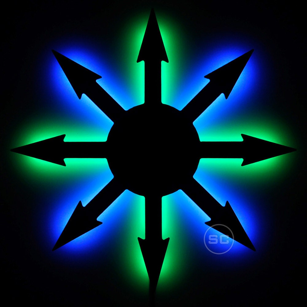 lighted chaos symbol sign led chaos night light and wall