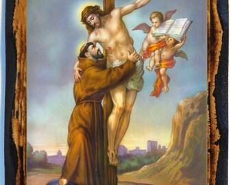 Saint Francis of Assisi Catholic Christian Icon on Wood
