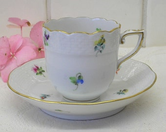 China tea cup & saucer. Herend Mille Fleures mocha Made in Hungary. Fine bone porcelain Perfect condition Hand painted flowers buds gilded